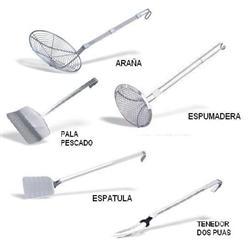 ARAÑAS,  ESPATULAS, ESPUMADERAS. Suministros de hostelería, restauración